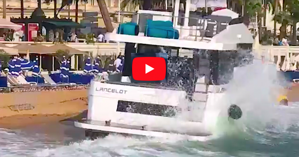VIDEO. A YACHT RUNS AGROUND AT CANNES YACHTING FESTIVAL