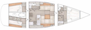 Contest 42CS layout, 2 cabins, 1 storage compartment and 1 bed