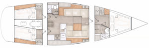 Contest 42CS, 2017 layout - 3 cabins