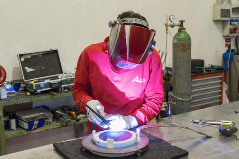 Amare Group's factory, glass porhole's welding