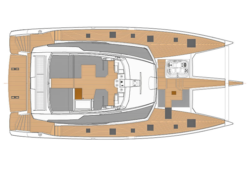 Fountaine Pajot Alegria 67 deck layout