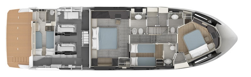 Absolute 62 Fly, lower deck layout