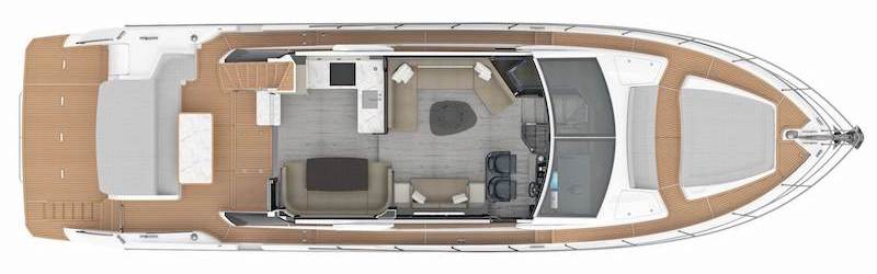 Absolute 62 Fly, main deck layout