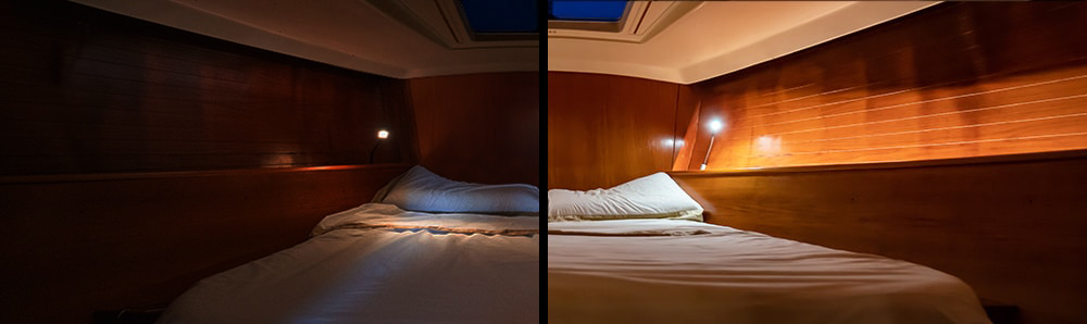 Boat lighting, before and after