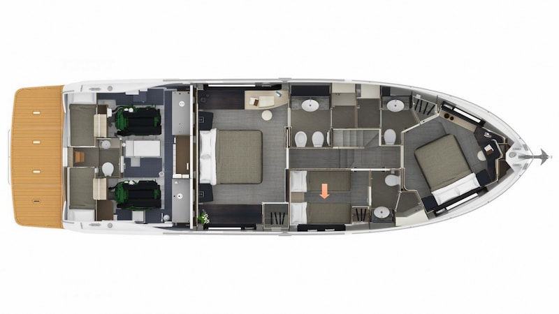 Absolute Navetta 58, lower deck layout