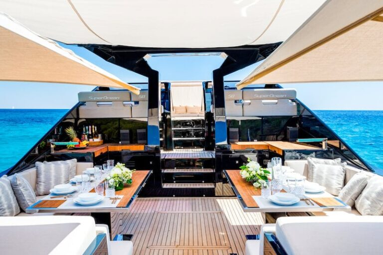 Superocean 58 outdoor dining zone